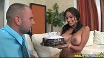 Big tit boss makes a cake to entice a fuck