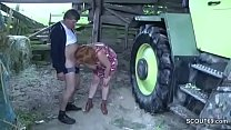 German Milf Mom and Dad Fuck Outdoor on farm Thumbnail