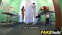 Fake Hospital Tall brunette patient with big na... />