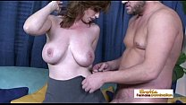Pale naturally busty MILF getting her hairy pus...