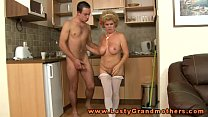Blonde grannys hairy pussy plowed hard doggystyle