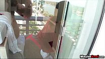 Hot amateur skinny teen fucked in ass on balcon...
