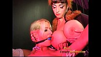 Luscious domina has fun with a blonde hussy and...
