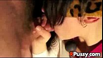 Blindfolded babe gives blowjob and gets facial
