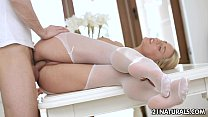 Sensual footjob in white stockings)