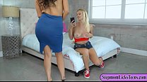 Busty momma and sexy teen babe licked pussies o...