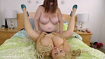 Busty BBWS Fuck Each Other with Strap On