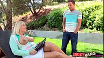 Nasty milf threesome with young couple on the c...