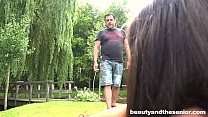 Beauty teen Athina gets fucked outside by an old dude