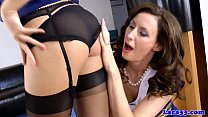 Glam uniformed euro milf and teen oral
