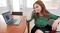 Horny redhead MILF stepmom helps a stepson about future