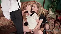 Slaves anal fucked in threesome bdsm