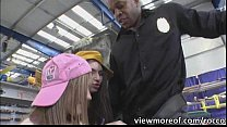 White naughty teens engage in threesome with a ...