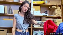 Tiny but big titted latina thief busted by a ma...