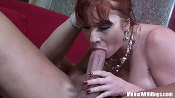 Big tit redhead in stockings fingered