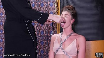 Beautiful babe in chains mouth abuse session...