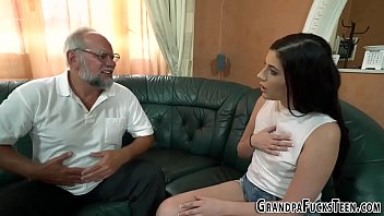 Teen fingers grandpas ass and jerks his cock