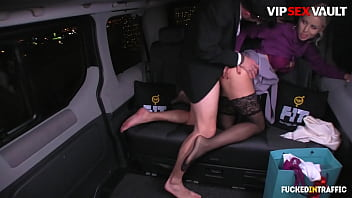 FUCKED IN TRAFFIC - #Lynna Nilsson #Luke Hotrod - Christmas Fun Time On Uber Van With a Nice Guy