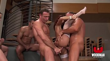 Red Haired bitch gets a Bukkake and Cream pie - HD Gang Bang
