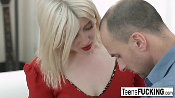Blonde teen in red dress seduces him into fucking her ass