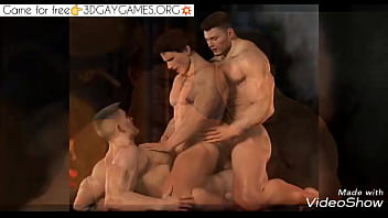 Orgy of three gay men in the game...