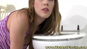 Licking piss of the toiler seat