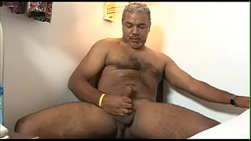 Mature guy strokes his big cock until he cums at porn casting