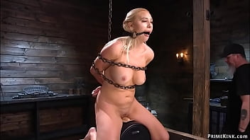 Chained blindfolded blonde ride Sybian