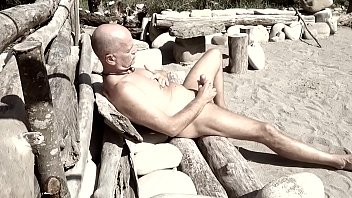 Laid back nude dude in the outdoors...