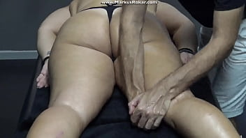 Blonde Mature Wife Stuck On Massage Bed &amp_ Masseur Fingering Her Pussy As Husband Waiting Outside