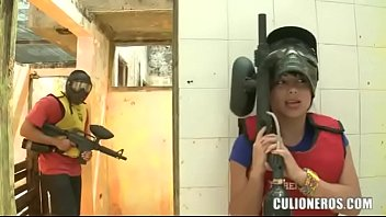 Sexy latina with huge butt and boobs playing paintball