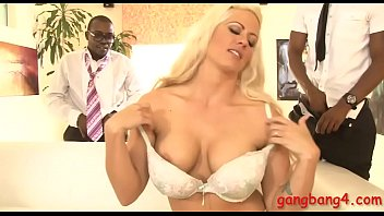 Big boobs blonde Holly Heart double fucked by black men