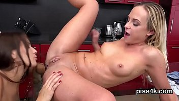 xxarxx Sweet lesbian girls get sprayed with piss and squirt wet twats