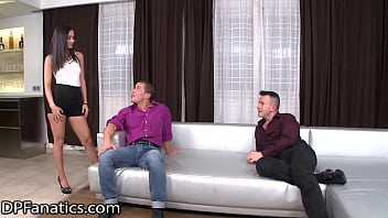 DPFanatics Young Brunette Is Double-Drilled By 2 Hungry Men
