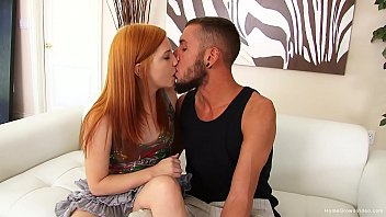 Flat chested redhead teen has her creamy pussy fucked