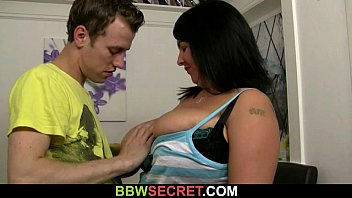 She finds huge titted plumper riding his cock