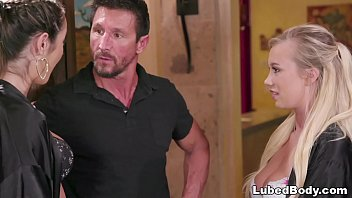 Trainee involved in a NURU massage - Bailey Brooke, Lily Adams and Tommy Gunn