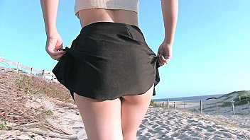 Teen getting naked and fingered beach...