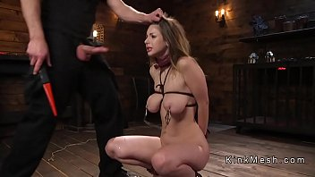 Big natural tits slave gets deep throat
