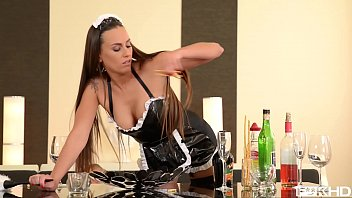 Leggy Latex Maid Mea Melone Fucked Balls Deep By Two Studs
