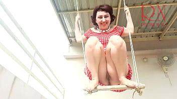Depraved Cute housewife has fun without panties on the Slut swings and shows her perfect Close up Close up Pull up your Upskirt pussy no No panties