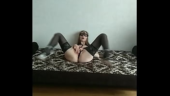 Lonely MILF in stockings stuffing her twat