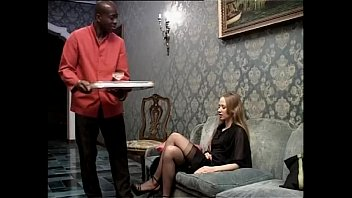 Smoking white slut wants to be fucked by her black servant  #22199