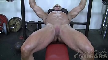 Female Bodybuilder Lacey Works Out And Masturbates