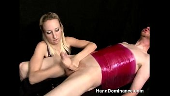 Blonde babe does good hand play