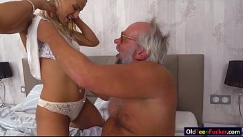 Chary Kiss finger grandpas ass while jerking him off for cum