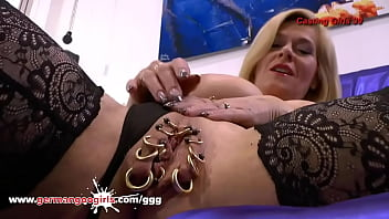 Heavily Pierced MILF pussy Masturbating on Casting Couch 13 min