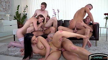 Randy group of bisex guys have blowjob orgy...