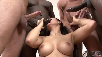 Milf gangbang double anal fucked and swallows thick cum after DP