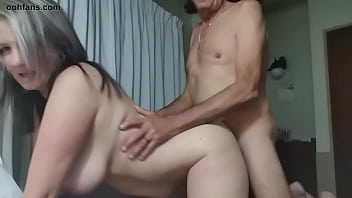 two south african couple, a milf step mom with big boobs and big ass, and her dad best friend fucks her raw without using condom using doggy style